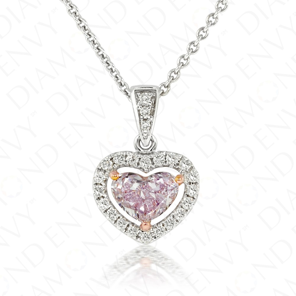 0.68 Carat Fancy Light Pink Diamond Pendant in 18K Two-Tone Gold