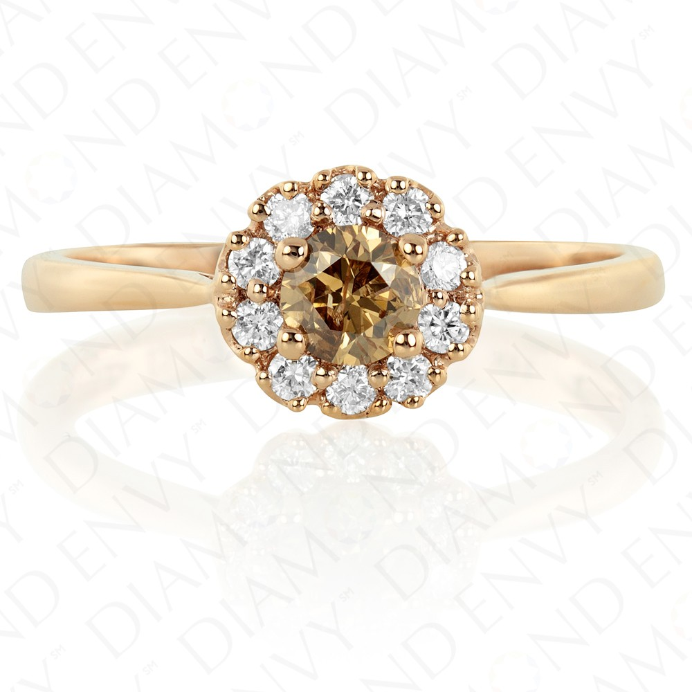 046 Carat Brown Diamond Ring In 14k Rose Gold