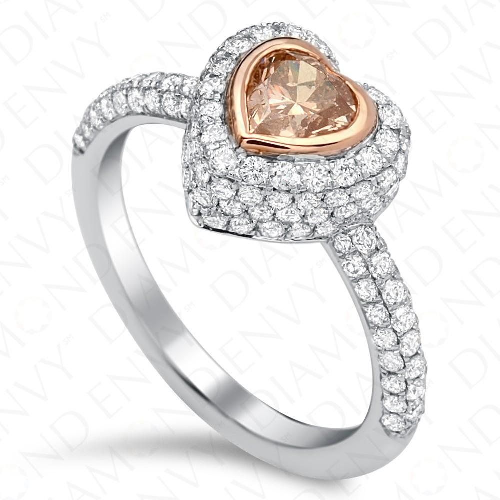 1.48 Carat Fancy Pinkish Brown Diamond Ring in 18K White & Rose Gold