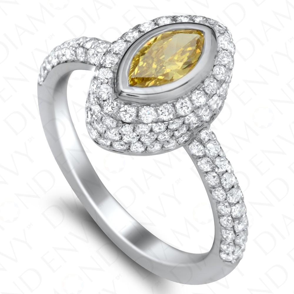 1.36 Carat Fancy Vivid Greenish Yellow Diamond Ring in 18K White & Yellow Gold