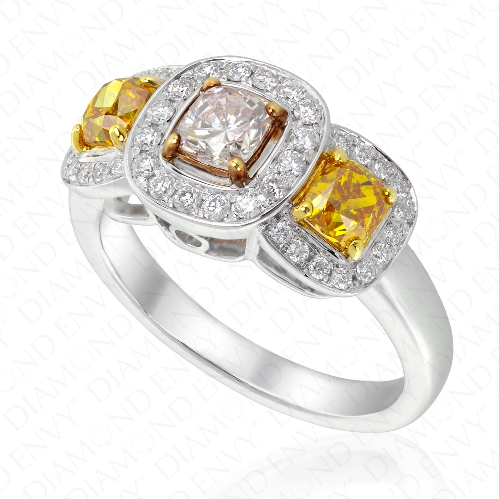 161 Carat Fancy Colored Diamond Ring In 18k Threetoned Gold