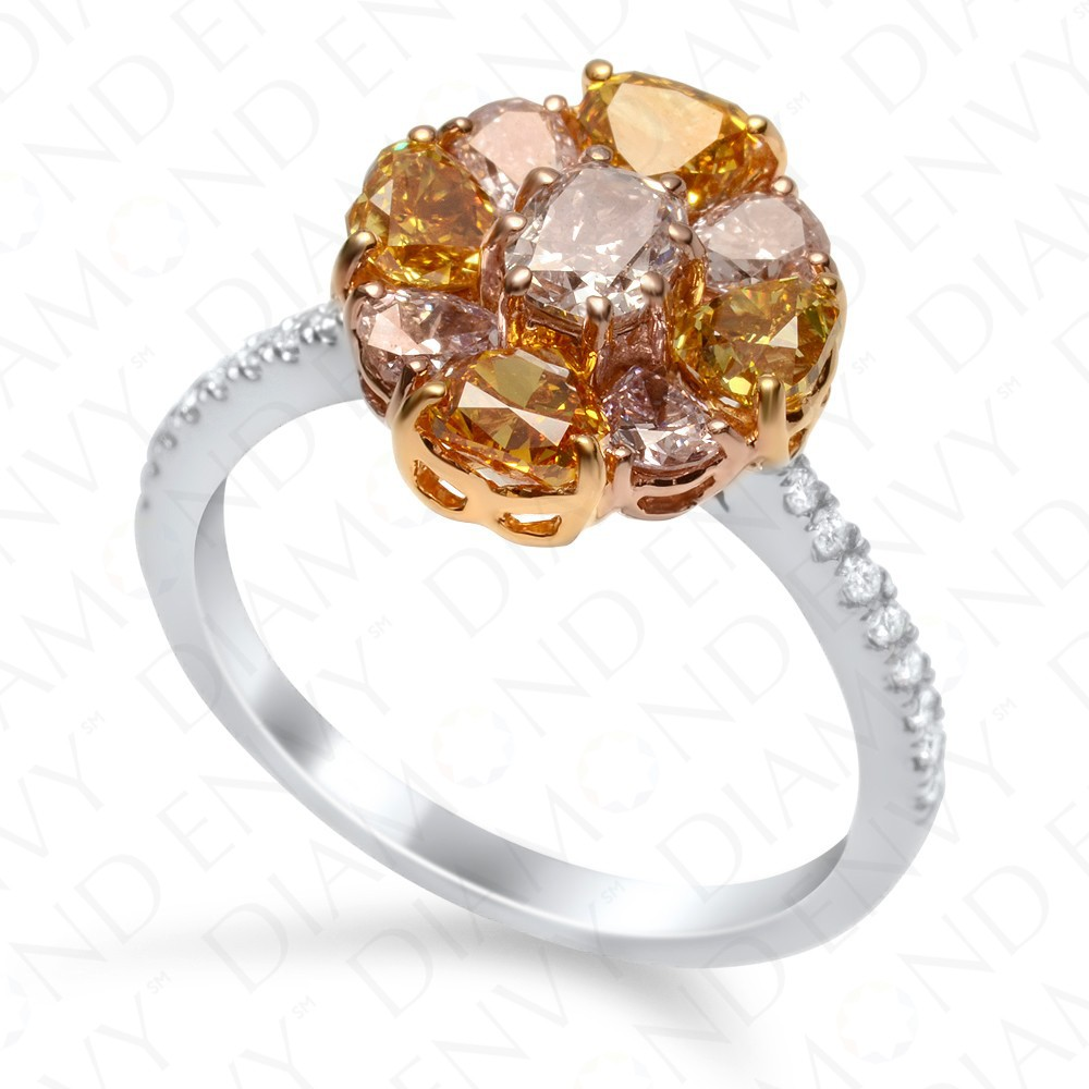 227 Carat Fancy Multicolored Diamond Ring In 18k Twotone Gold
