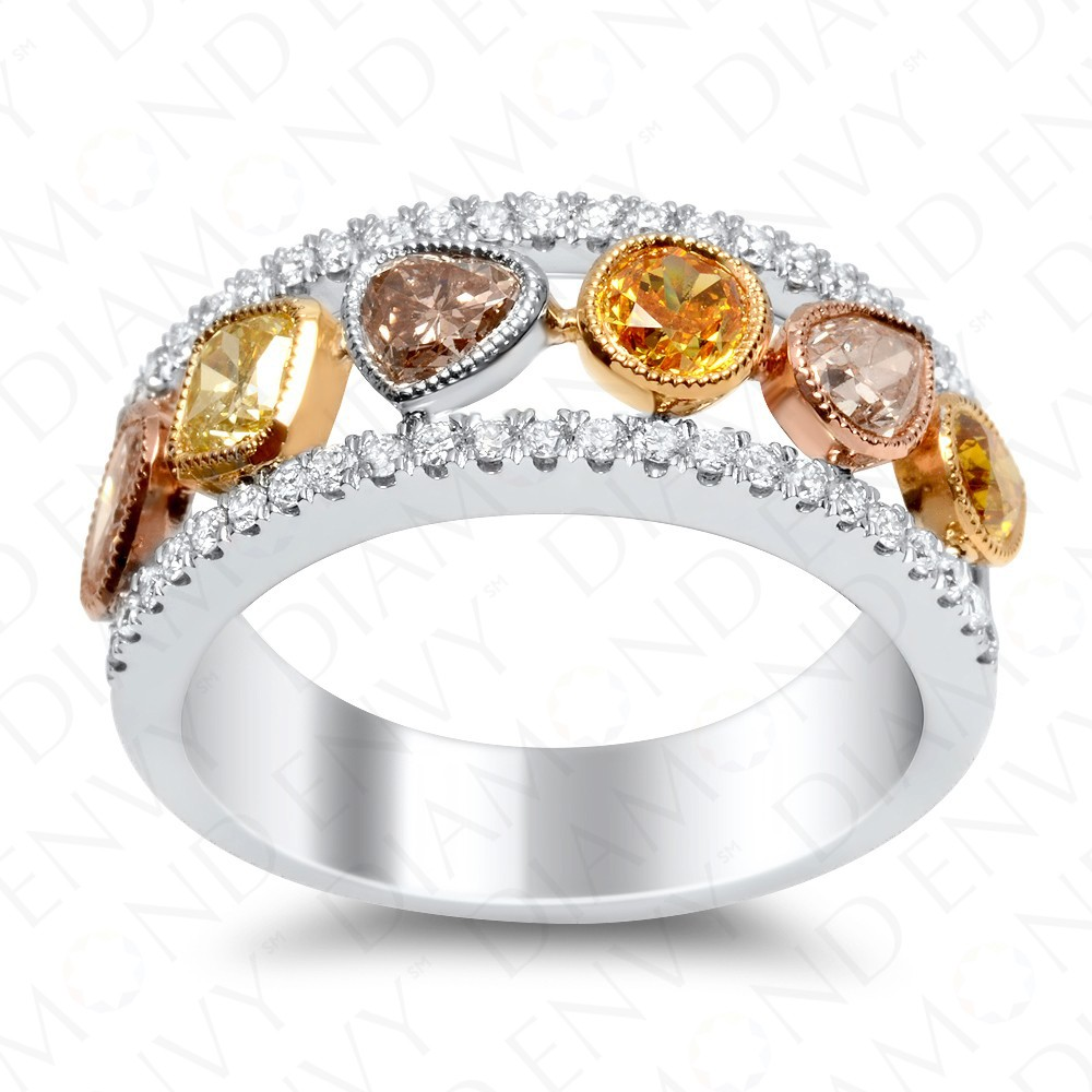 1.55 Carat Fancy Multi-Colored Diamond Ring in 18K White Gold