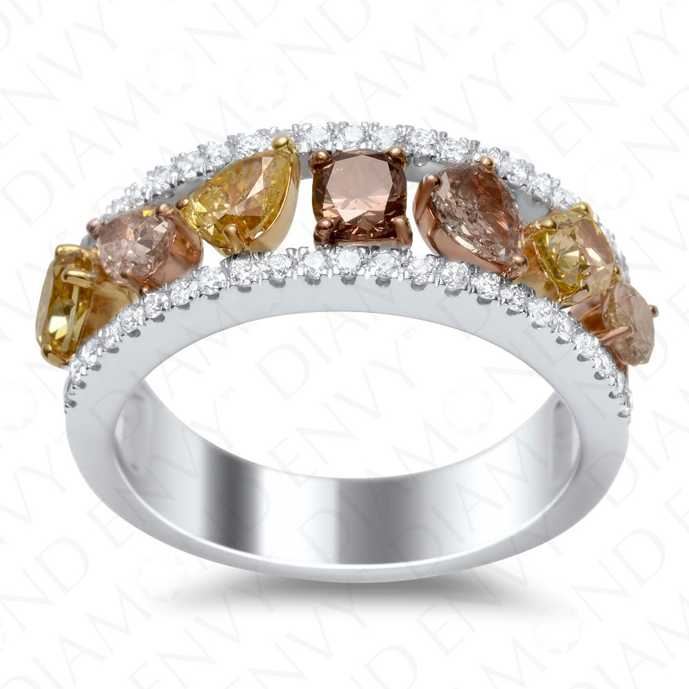 1.99 Carat Fancy Multi-Colored Diamond Ring in 18K Two-Tone Gold