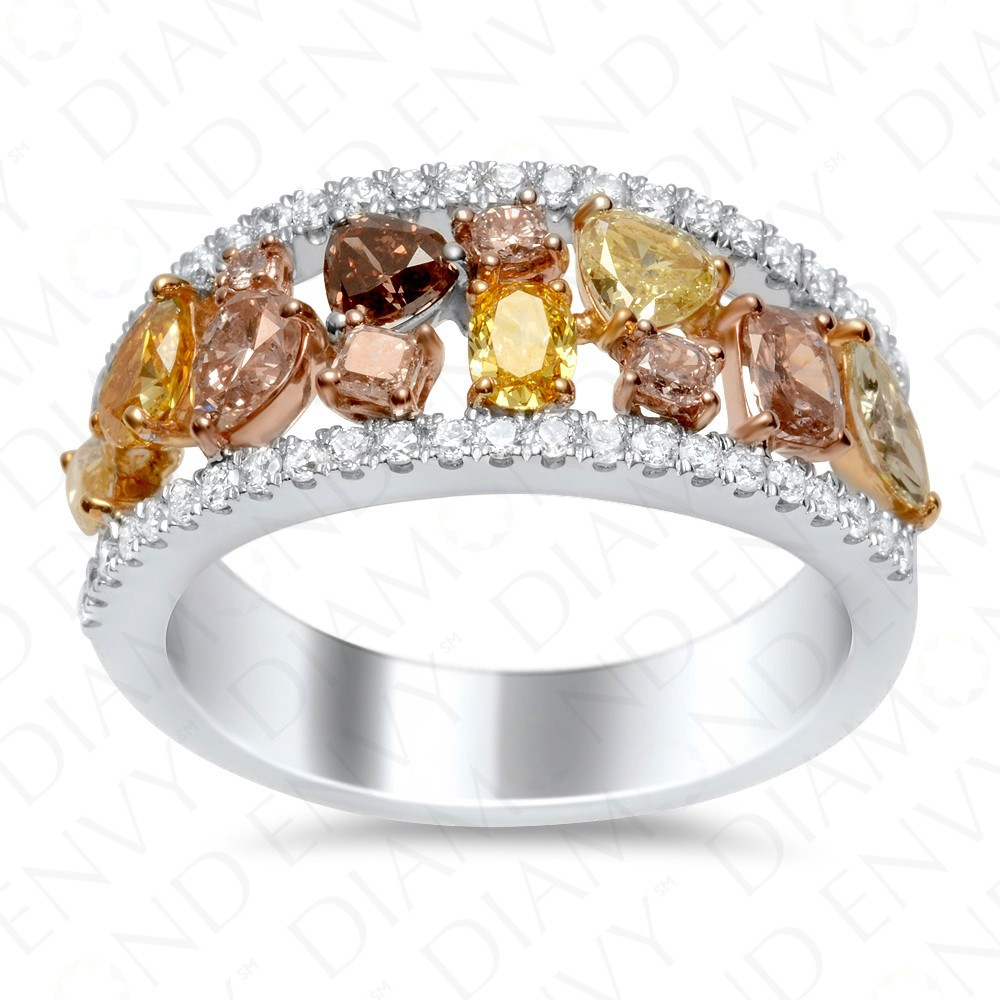 1.66 Carat Fancy Multi-Colored Diamond Ring in 18K Two-Tone Gold
