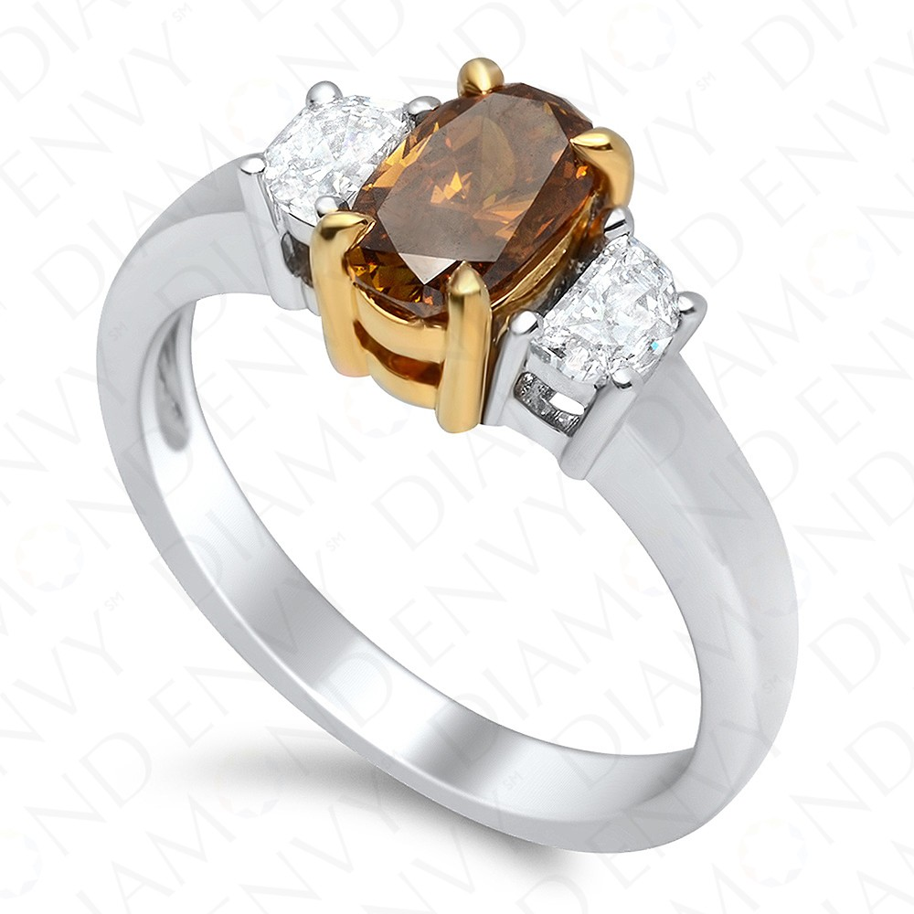 1.34 Carat SI1 Oval Fancy Deep Orange Brown Diamond Ring in 18K Two-Tone Gold