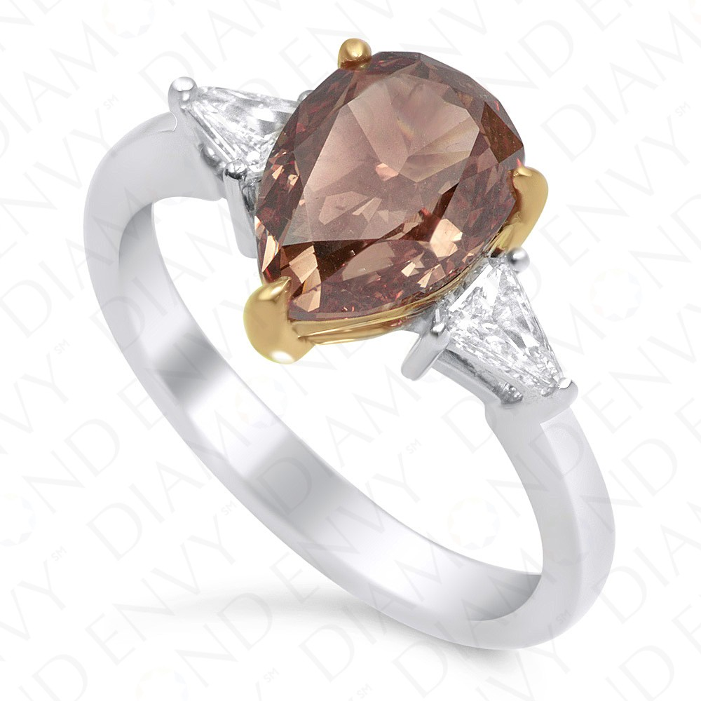 2.74 Carat Fancy Dark Orange-Brown Diamond Ring in 18K Two-Tone Gold