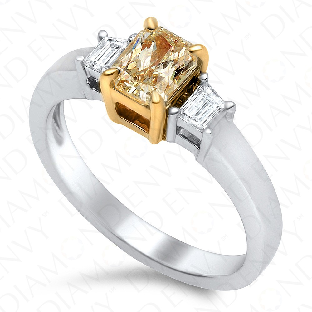 0.93 Carat SI2 Radiant Fancy Light Yellow Diamond Ring in 18K Two-Tone Gold
