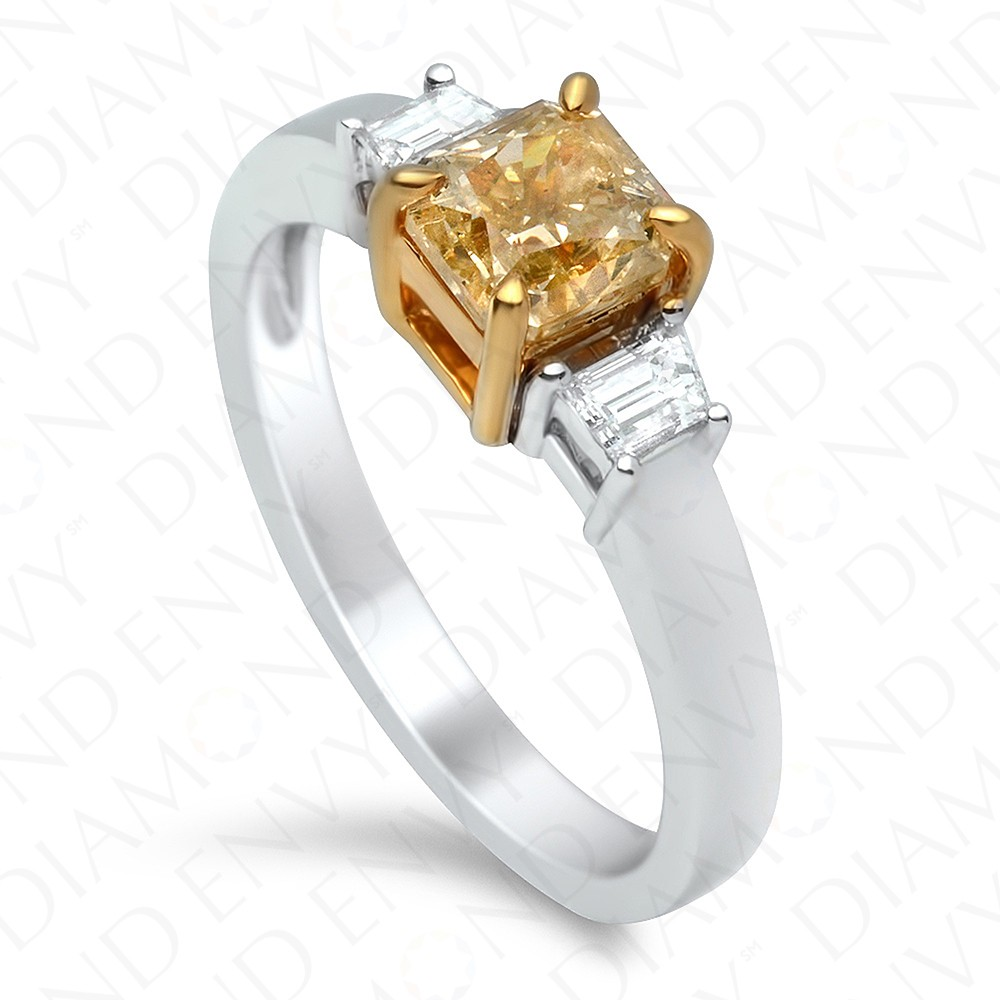 1.22 Carat Fancy Yellow Diamond Ring in 18K Two-Tone Gold