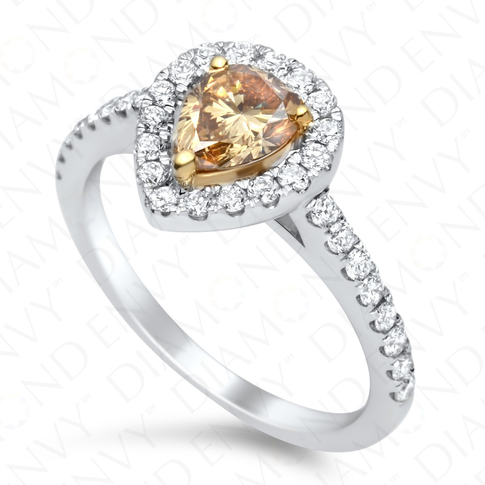 1.09 Carat Fancy Deep Yellowish Brown Diamond Ring in 18K White Gold