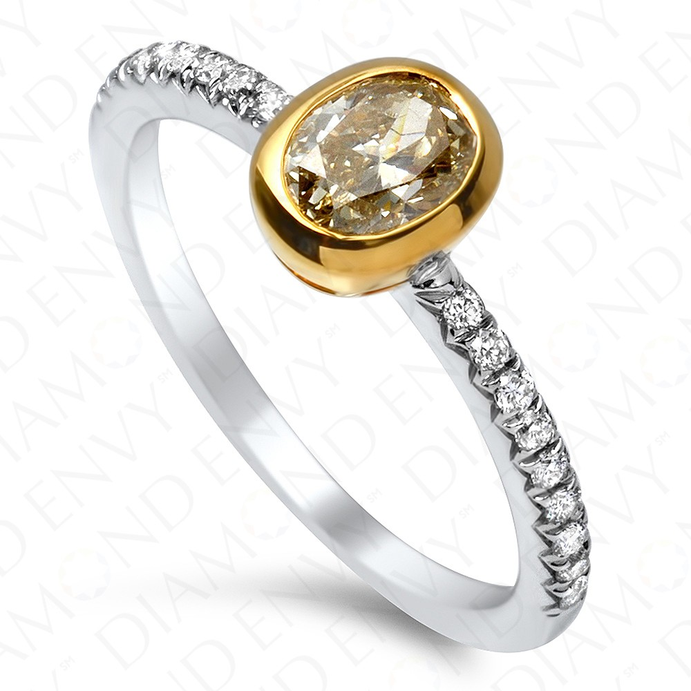 0.78 Carat Fancy Light Yellow Oval Diamond Ring in 18K Two-Tone Gold