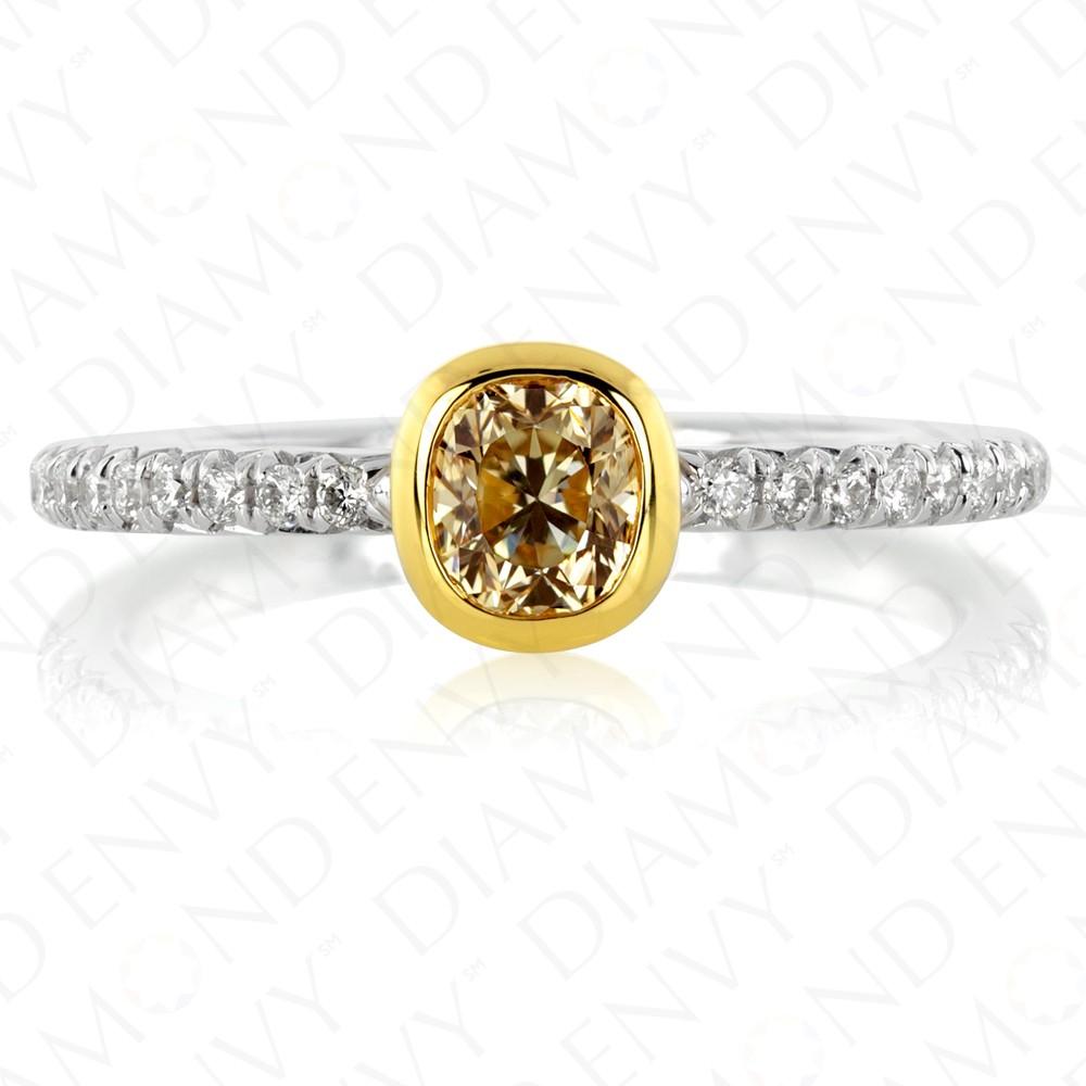 Bezel Set Yellow Diamond Ring with Pave Band