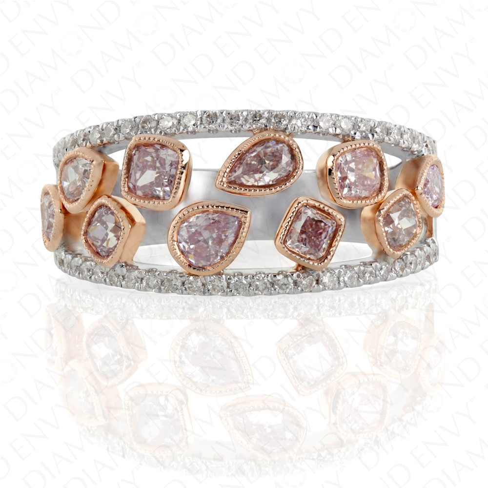 1.40 Carat Fancy Purplish Pink Diamond Ring in 18K Two-Tone Gold