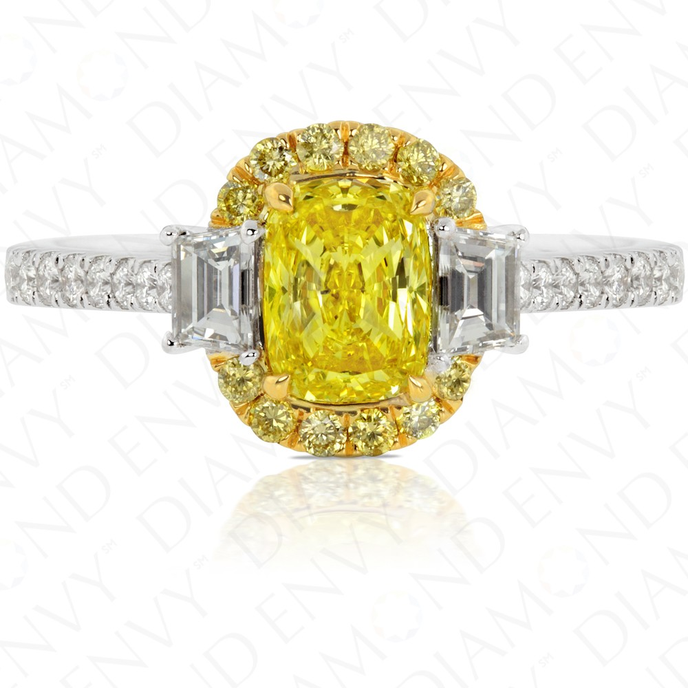 1.79 Carat Fancy Intense Yellow Diamond Ring in 18K Two-Tone Gold
