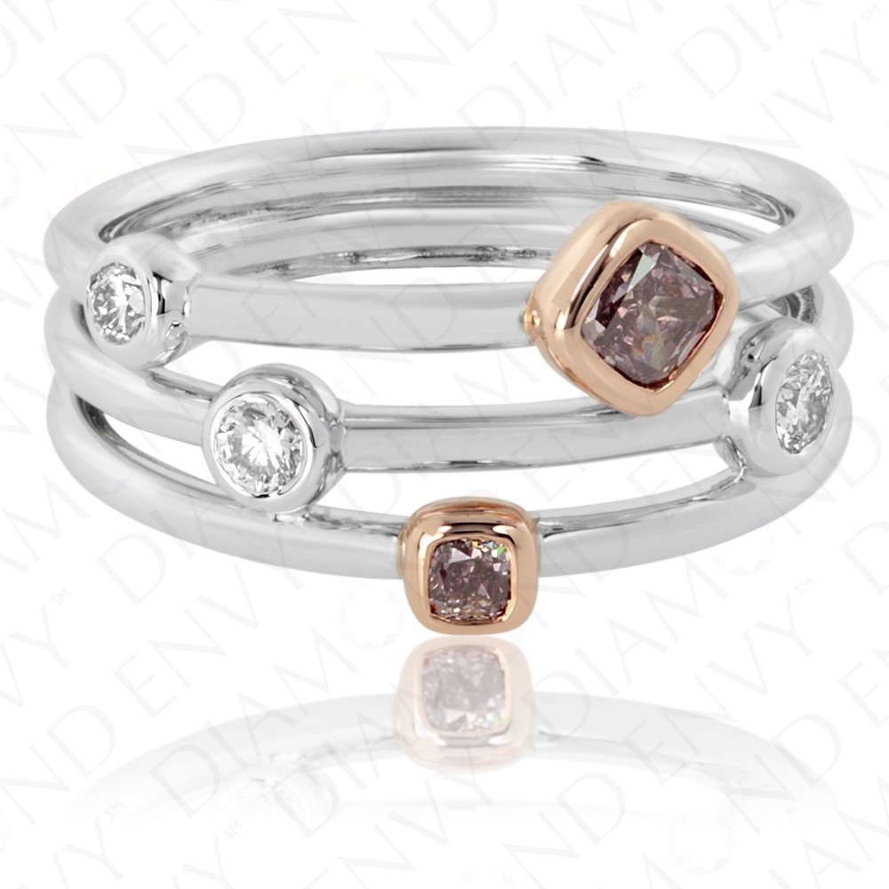 0.46 Carat Fancy Colored Diamond Ring in 18K Two-Tone Gold
