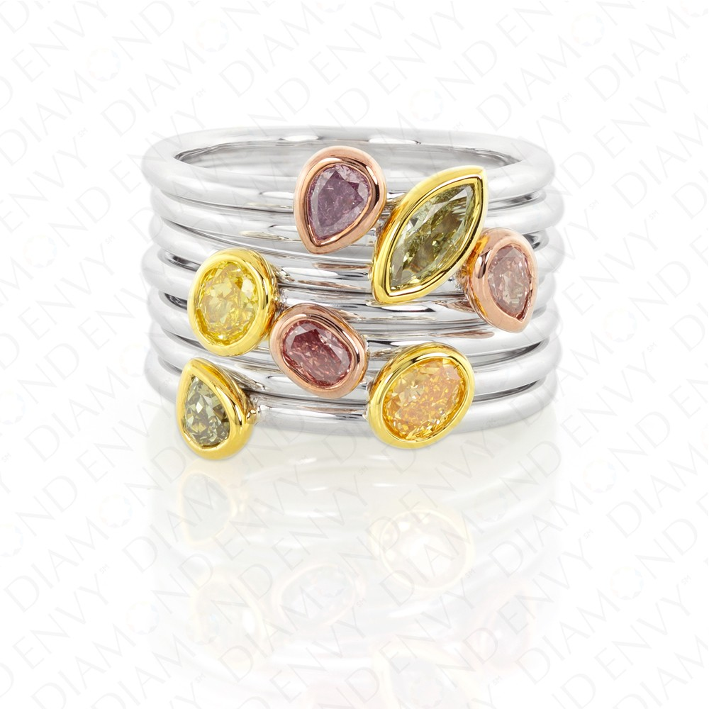 1.26 Carat Stackable Colored Diamond Rings in 18K Gold