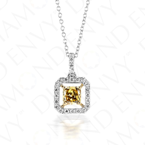 0.69 Carat Fancy Colored Diamond Pendant in 18K Two-Tone Gold