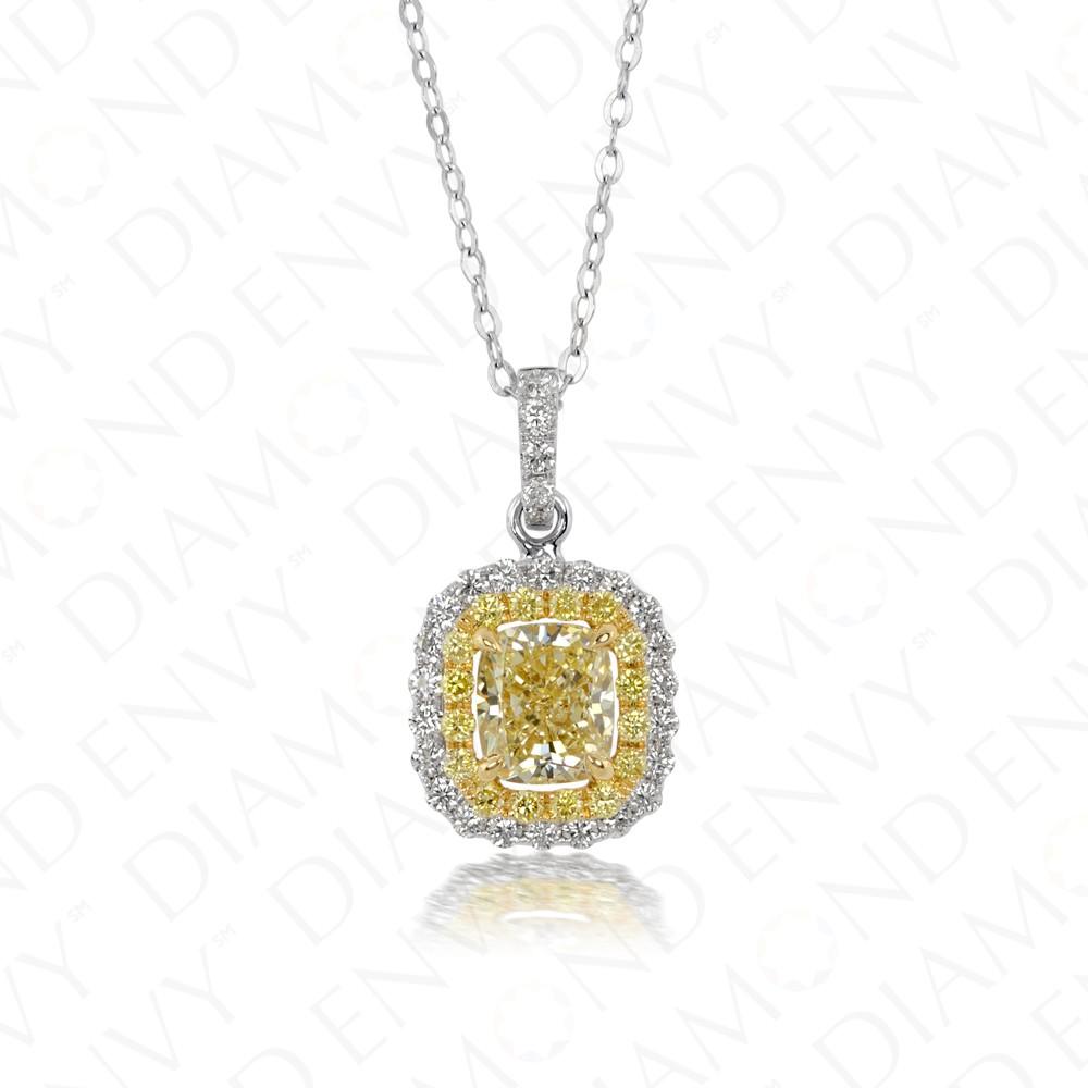 1.59 Carat Fancy Light Yellow Diamond Pendant in 18K Two-Tone Gold