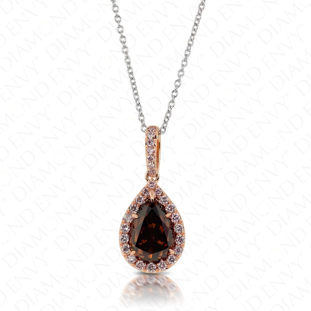 Teardrop Chocolate Diamond Pendant with Pink Diamond Halo