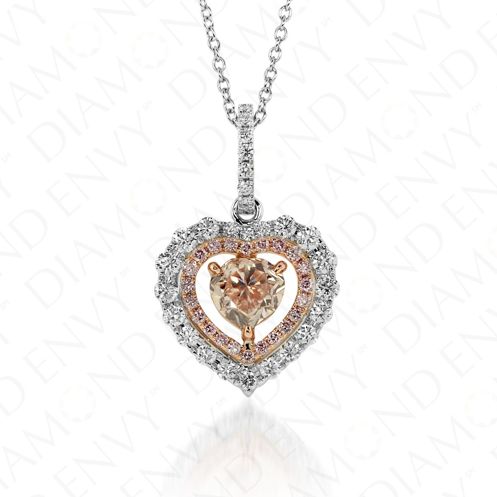 1.40 Carat Fancy Pink-Brown Diamond Pendant in 18K Two-Tone Gold