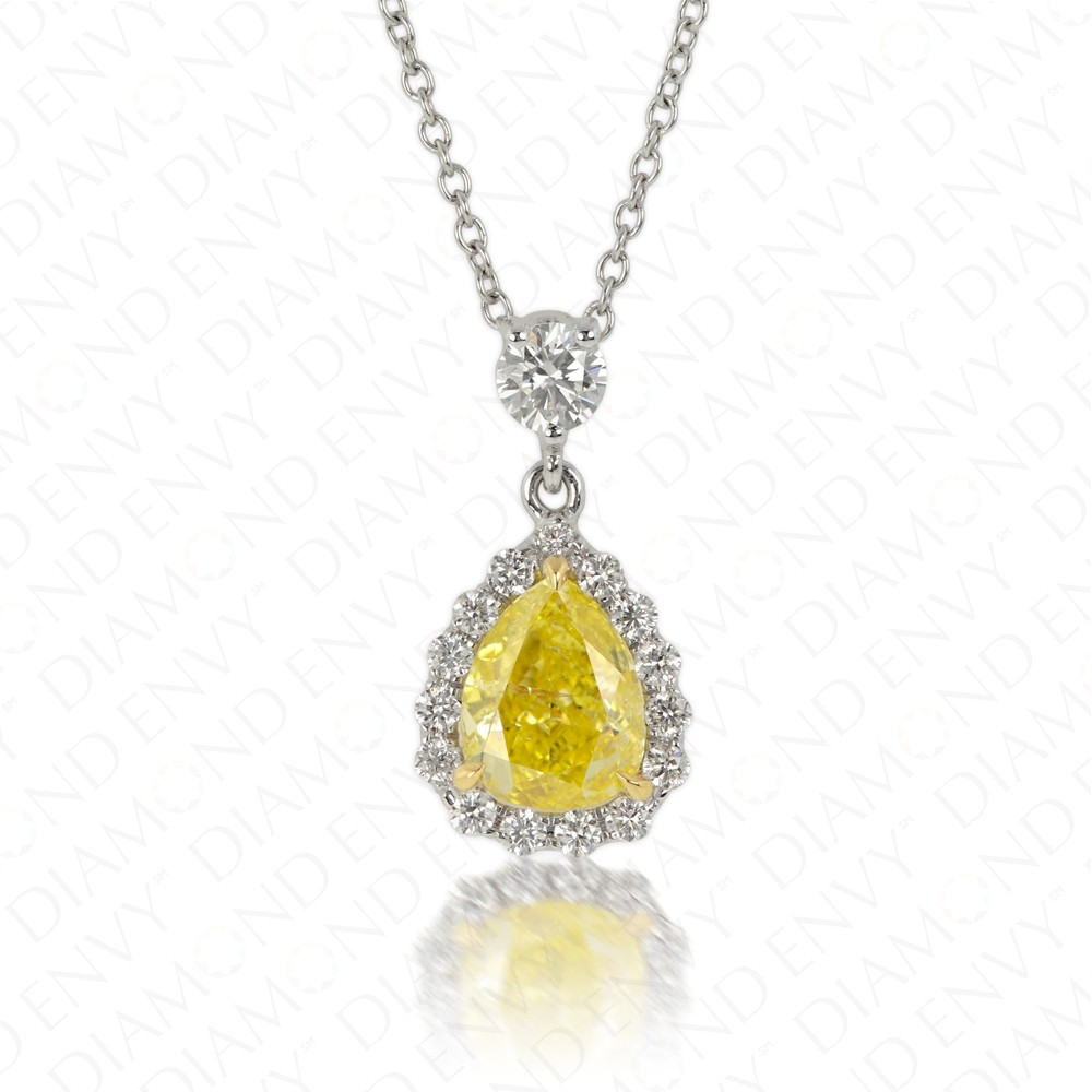 1.20 Carat Fancy Intense Yellow Diamond Pendant in 18K Two-Tone Gold