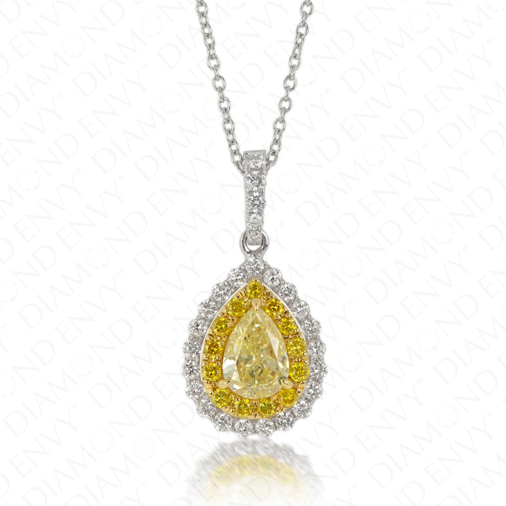 0.98 Carat Fancy Yellow Diamond Pendant in 18K Two-Tone Gold