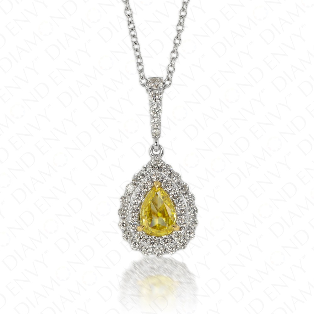 Vivid Yellow Diamond Flower Petal Pendant