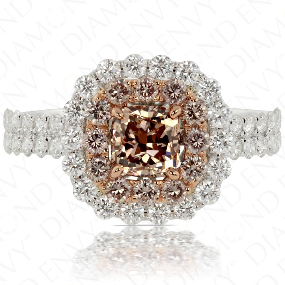 190 Carat Fancy Pinkbrown Diamond Ring In 18k Twotone Gold