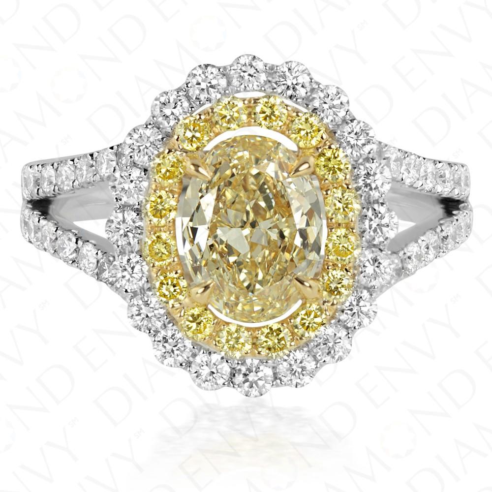 2.22 Carat Yellow Diamond Ring in 18K Two-Tone Gold