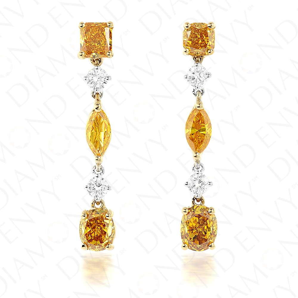 2.44 Carat Fancy Colored Diamond Earrings in 18K Two-Tone Gold