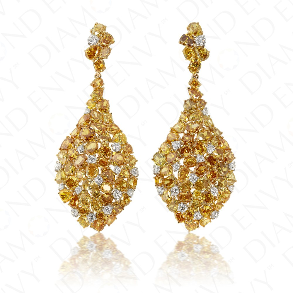 27.98 Carat Fancy Yellow Diamond Earrings in 18K Two-Tone Gold