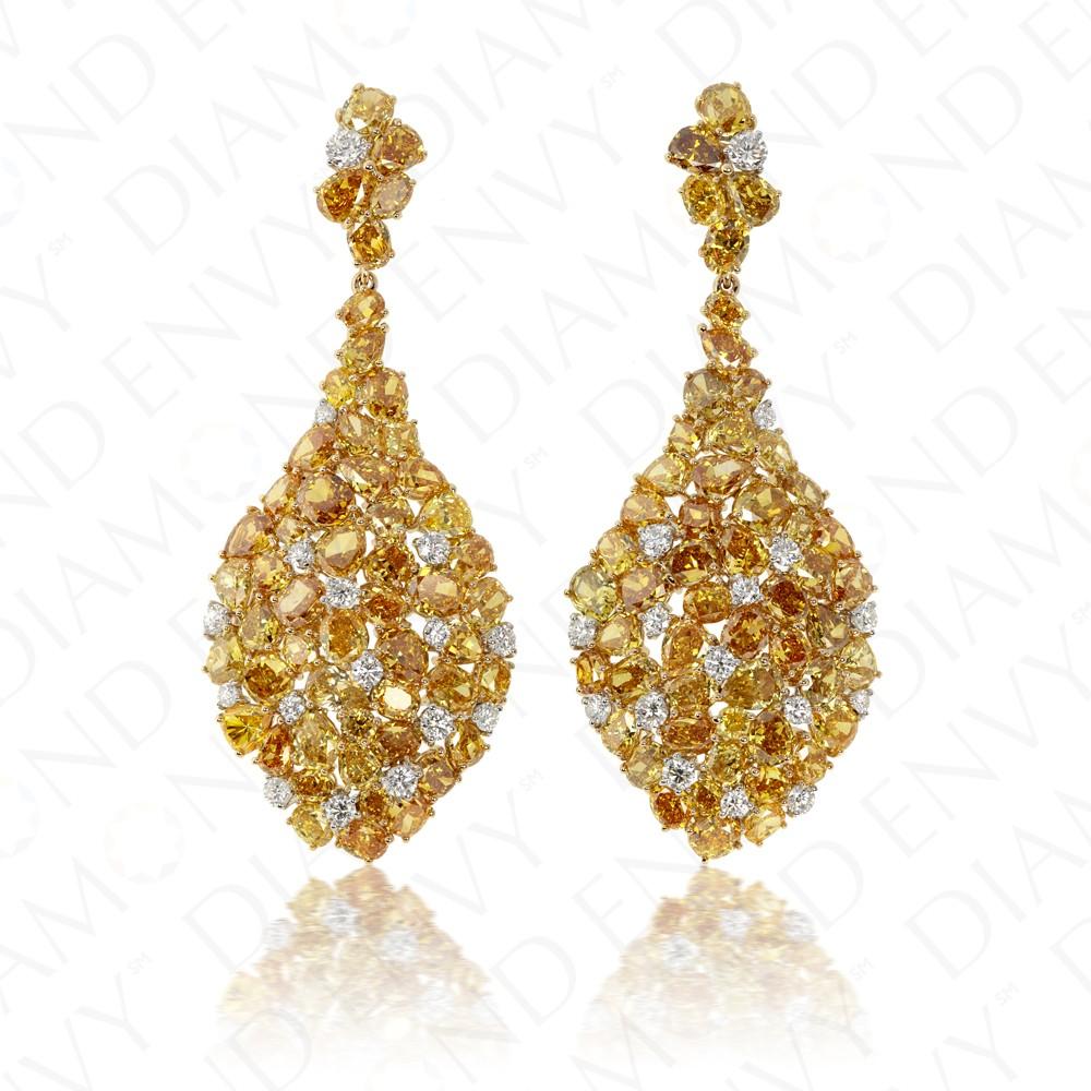 27 98 Carat Fancy Yellow Diamond Earrings In 18k Two Tone Gold