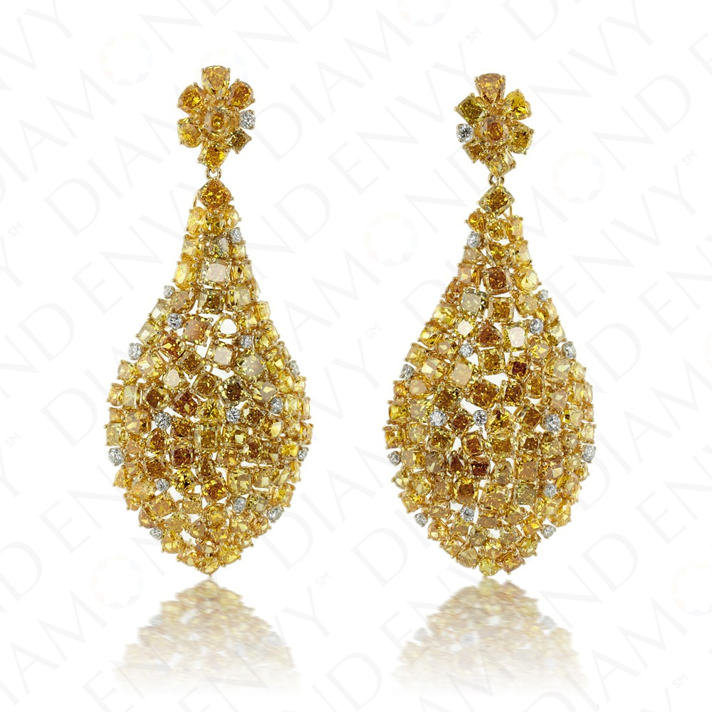 40.54 Carat Fancy Yellow Diamond Earrings in 18K Two-Tone Gold
