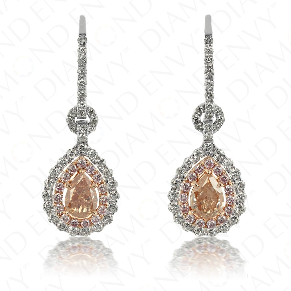 2.44 Carat Fancy Brown-Pink Diamond Earrings in 18K Two-Tone Gold