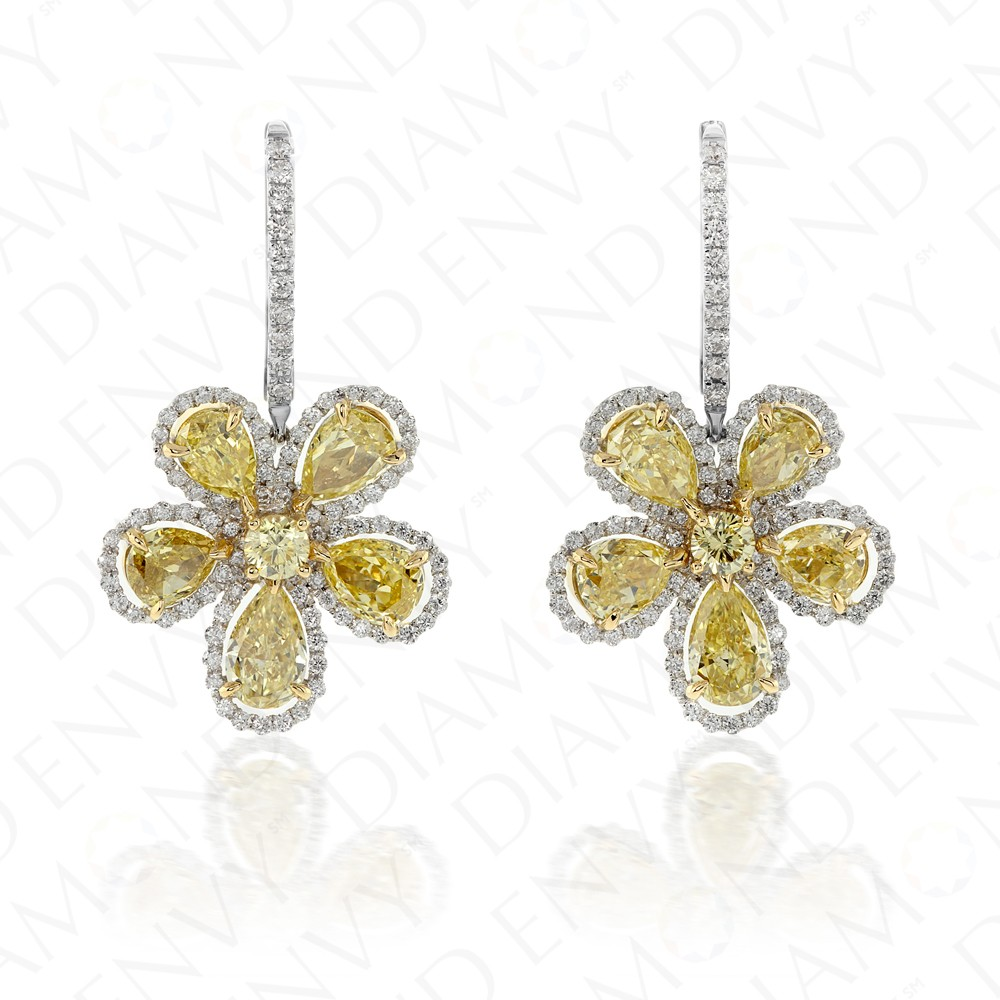6.28 Carat Fancy Intense Yellow Diamond Earrings in 18K Two-Tone Gold