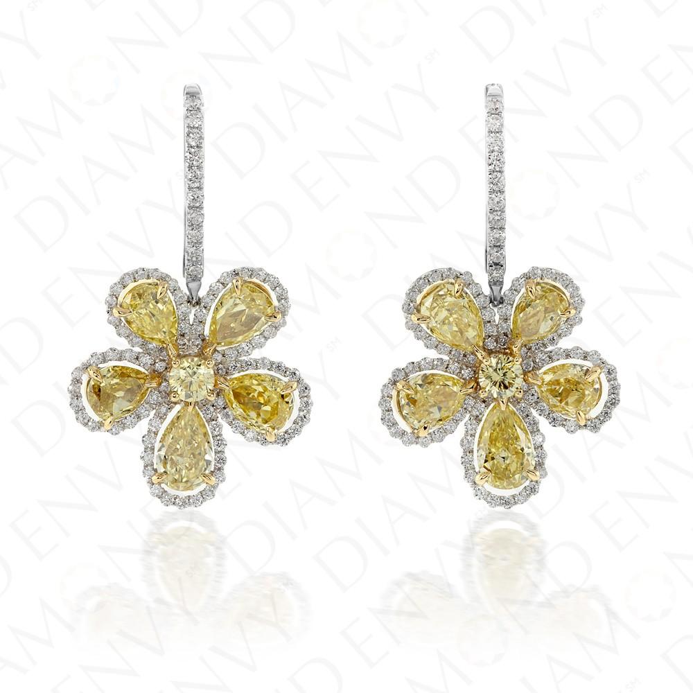 6.28 Carat Fancy Intense Yellow Diamond Earrings in 18K Two-Tone Gold