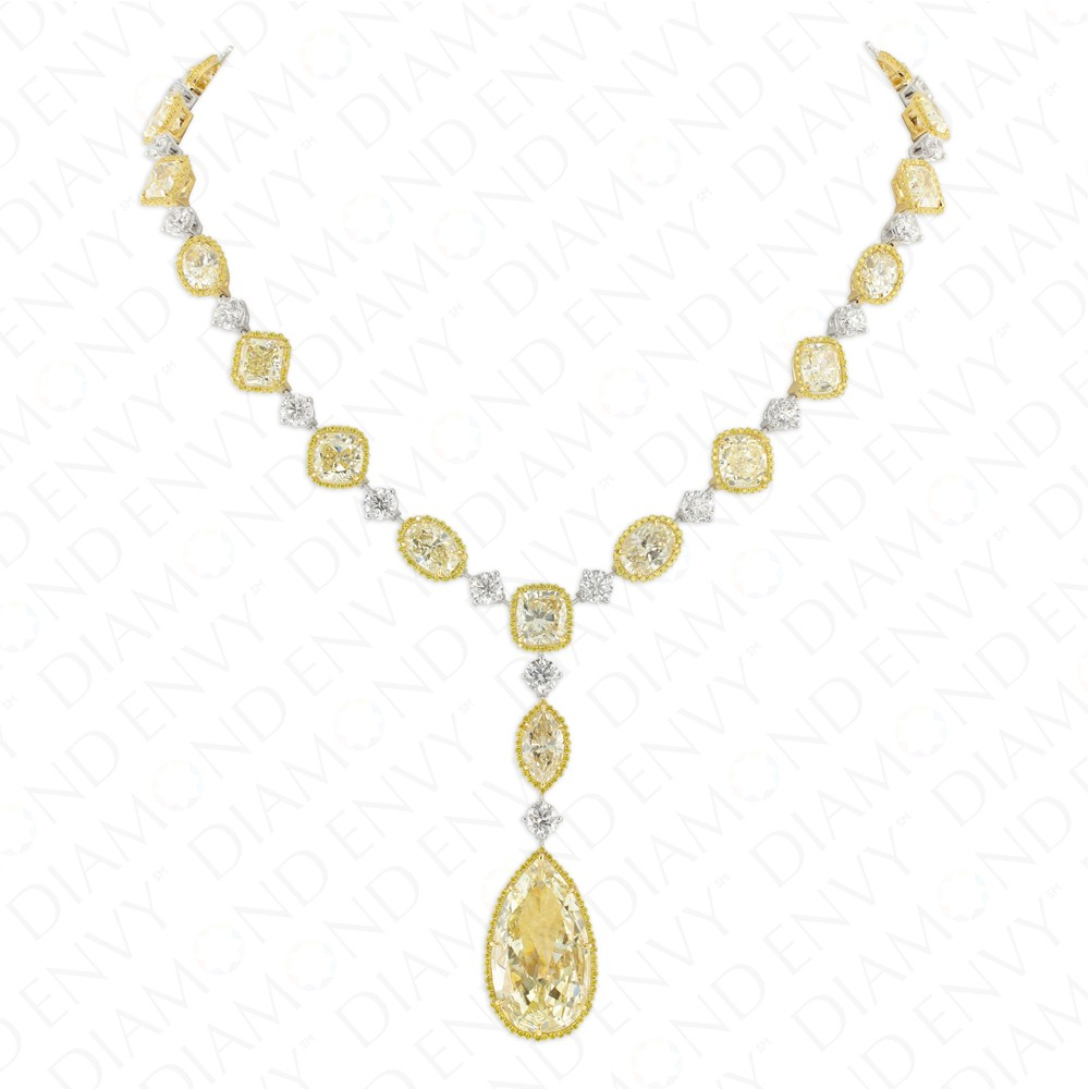 62.31 Carat Fancy Light Yellow Diamond Necklace in 18K Two-Tone Gold