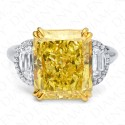 6.24 Carat Fancy Vivid Yellow Diamond Ring in Platinum/18K Gold