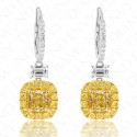 3.08 Carat Fancy Intense Yellow Diamond Earrings in 18K Two-Tone Gold