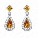 1.78 Carat Fancy Deep Orangy Yellow & Fancy Intense Yellowish Green Drop Earrings in 18K Gold