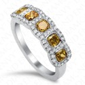 1.78 Carat Five-Stone Fancy Multi-Colored Diamond Ring in 18K White Gold