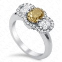 2.06 Carat Fancy Intense Brownish Greenish Yellow Diamond Ring in 18K White Gold
