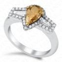 1.52 Carat VS1 Pear Shape Fancy Deep Brown-Yellow Diamond Ring in 18K White Gold