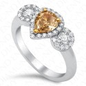1.24 Carat Pear Shape Fancy Intense Brownish Orangy Yellow Diamond Ring in 18K White Gold