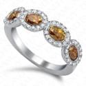 1.85 Carat Fancy Multi-Colored Diamond Ring in 18K White Gold
