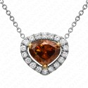1.03 Carat Fancy Deep Orange-Brown Diamond Pendant with Chain in 18K White Gold