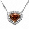 1.03 Carat Fancy Deep Orange-Brown Diamond Pendant with Chain in 18K White Gold