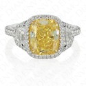 4.08 Carat Fancy Intense Yellow Diamond Ring in Platinum and 18K White Gold