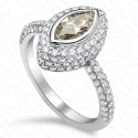 1.63 Carat Fancy Light Greyish Blue Diamond Ring in 18K White Gold