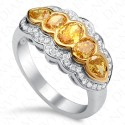 1.68 Carat Five-Stone Fancy Deep Orangy Yellow Diamond Ring in 18K White & Yellow Gold